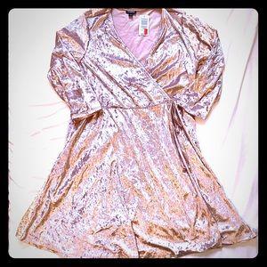 NWT TORRID Velvet Wrap Around Pastel Pink Dress